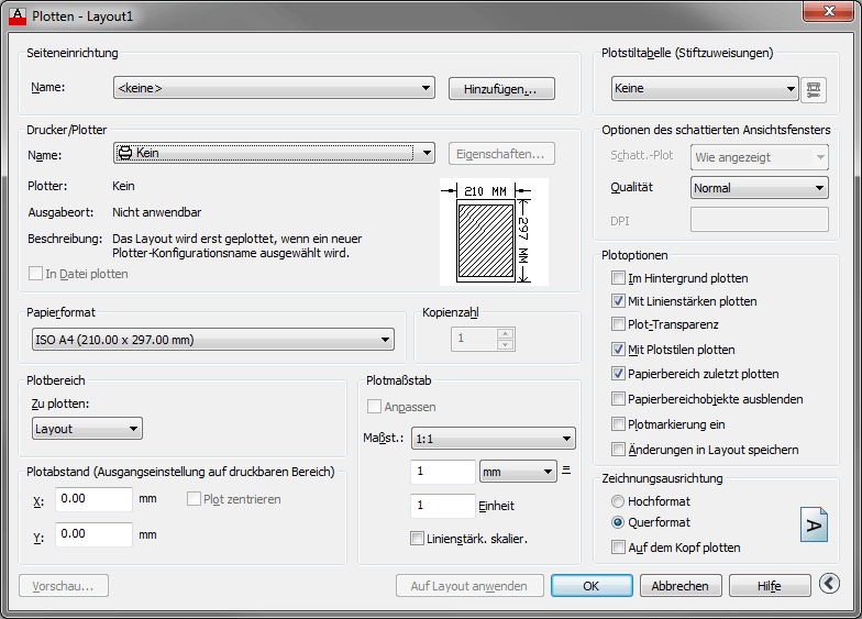 Screenshot Plotdialog in AutoCAD